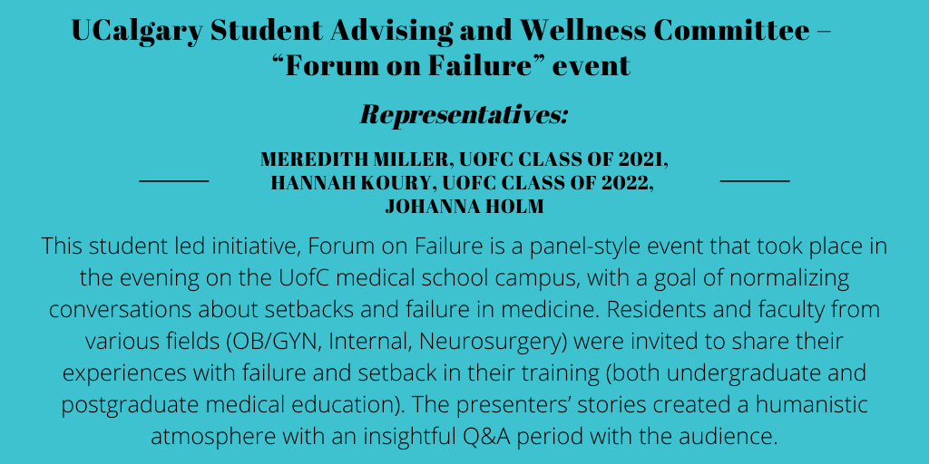 """1.Student Advising and Wellness Committee, University of Calgary – """"Forum on Failure"""" Event"""
