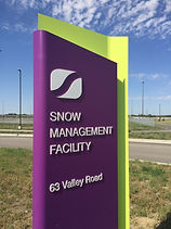 Snow managaement facility purple signage 63 Valley Road