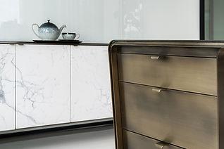 White Box InstarAGF Calacatta Marble and bronze furniture