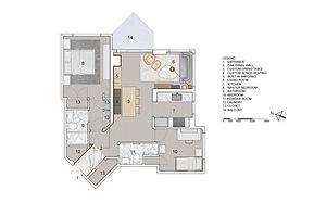 Pied-à-terre Yorkville condominium residential design floor plan - Toronto, Ontario, Canada