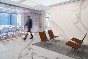 InstarAGF office design with statuario feature wall