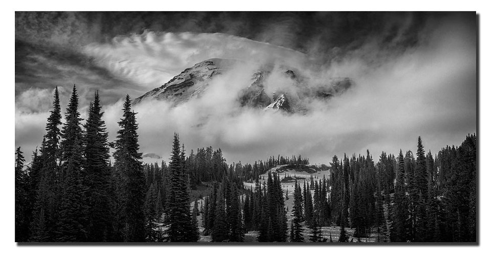"Mt. Rainier in Clouds  12""X24"" Print on Fuji Deep Matte Paper."