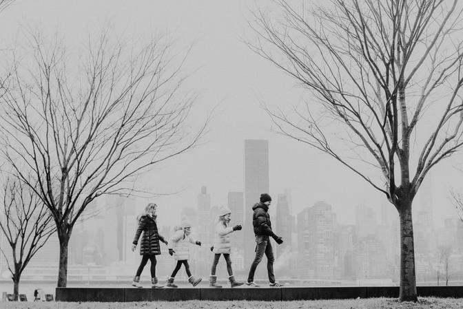 Familie-foto-wandeling in L.I.C.
