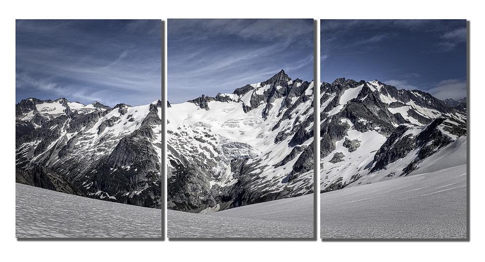 """Forbidden Peak 30""""X60"""" tryptich on canvas."""