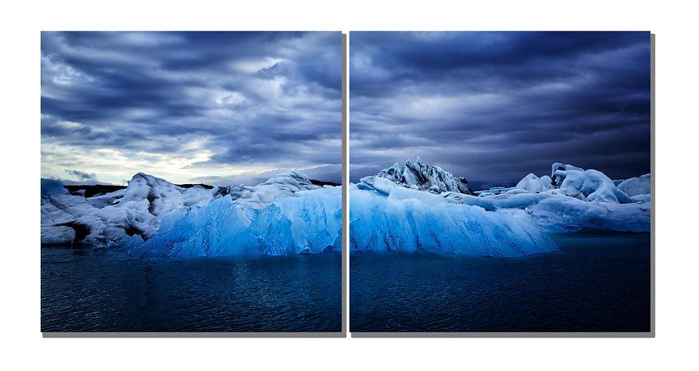"Jökulsárlón Glacier Lagoon in Iceland 16""X32"" canvas standout."