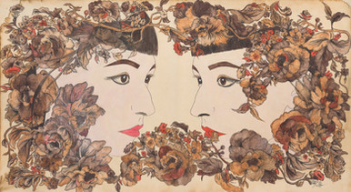 "'Self Portrait'. 24"" x 14"". Micron pen, watercolor pencil, hand stained paper. 2012."