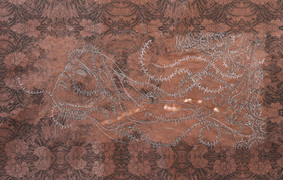 """'Pulled Away Into Dark'. 24"""" x 18"""". Colored pencil on rice paper. 2012."""