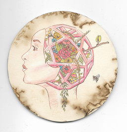 """'Platonic Solids: Mother of Flora'. 4"""" diameter. Micron pen, watercolor pencil, hand stained paper. 2016."""