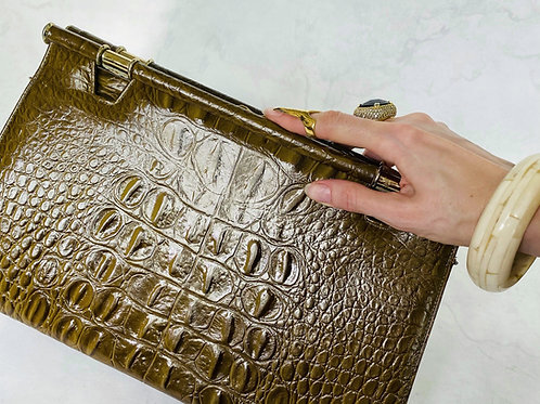 Vintage 1950s Alligator Leather Clutch by Caprice