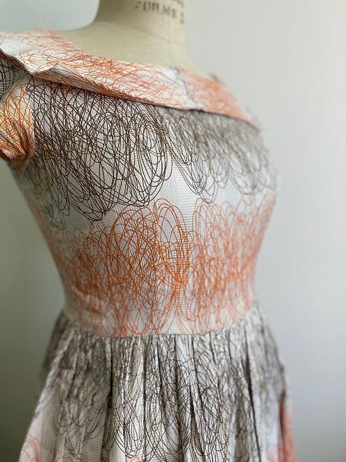 Vintage 1950's Dress Raw Silk