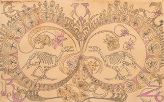 """'Canis Momento'. 18"""" x 12"""". Micron pen, watercolor pencil, hand stained paper. 2012."""