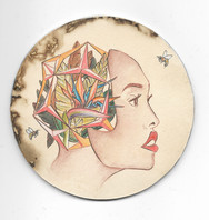 """'Platonic Solids: Mother of Tropics'. 4"""" diameter. Micron pen, watercolor pencil, hand stained paper. 2016."""