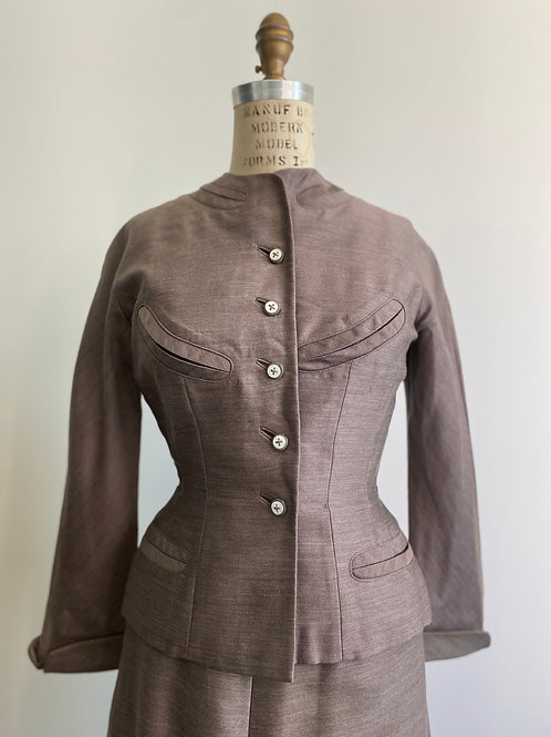 Vintage 1950s Two-Piece Silk Wool Suit Small