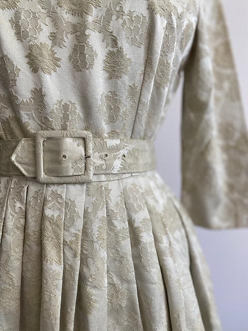 Vintage 1950's Jacquard Silk Party Dress