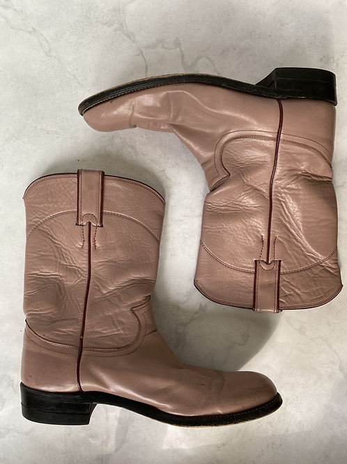 Pink Leather Justin Boots Size 8.5