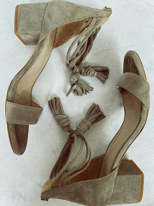 Gray Suede Tasseled Sandal Pumps Size 8.5