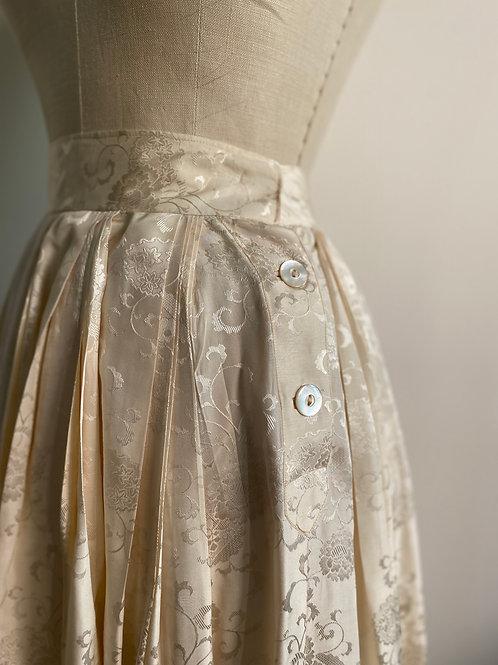Vintage 1950's Jacquard Silk Pleated Skirt