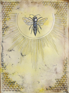 """'The Creator'. 9"""" x 12"""". Micron pen, watercolor pencil, gold acrylic, hand stained paper. 2015."""