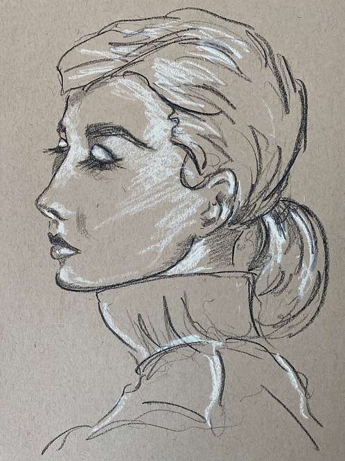 Original Fashion Sketch - Audrey Hepburn