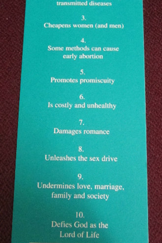 Ten Disadvantages of Contraception (Bookmark)