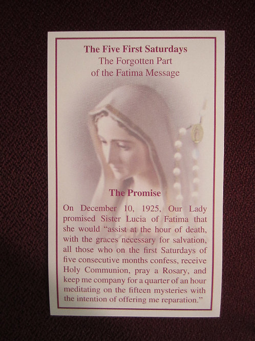The Five First Saturdays Prayer Card