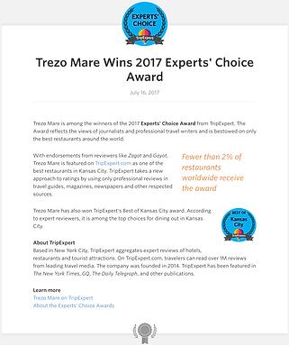 Trezo Mare Restaurant Kansas City Experts' Choice Award