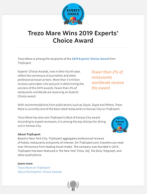 Trezo Mare Restaurant Kansas City wins 2019 Experts' Choice Award
