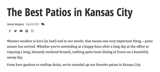Trezo Mare named Best Patios in Kansas City
