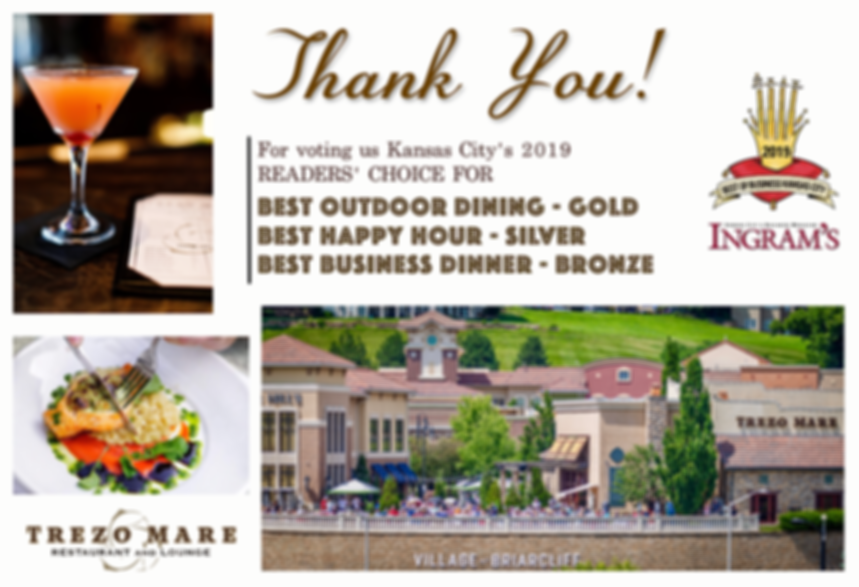 Trezo Mare Kansas City wins three readers' choice awards for best outdoor dining, best happy hour, and best business dinner.