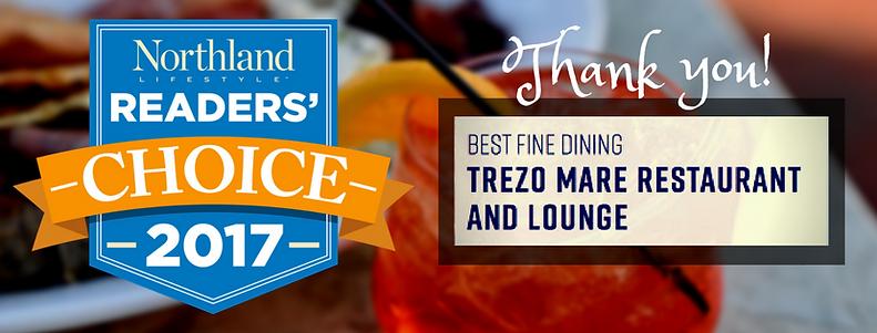 Trezo Mare wins Best Fine Dining Restaurant in Northland Magazine Readers' Choice edition.