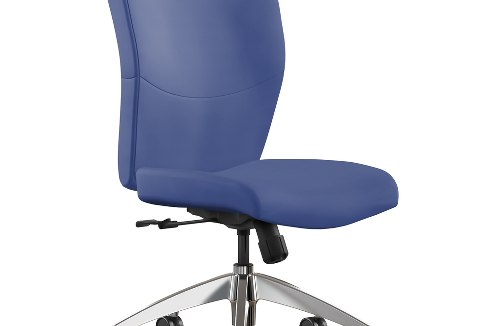 Leather Seating   Aluminum Base   No Arms