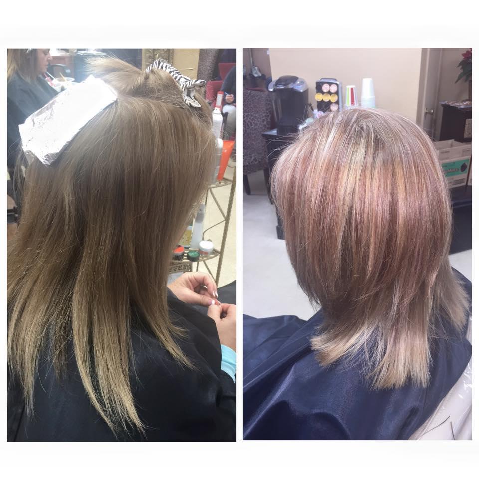 blonde and red/violet highlights