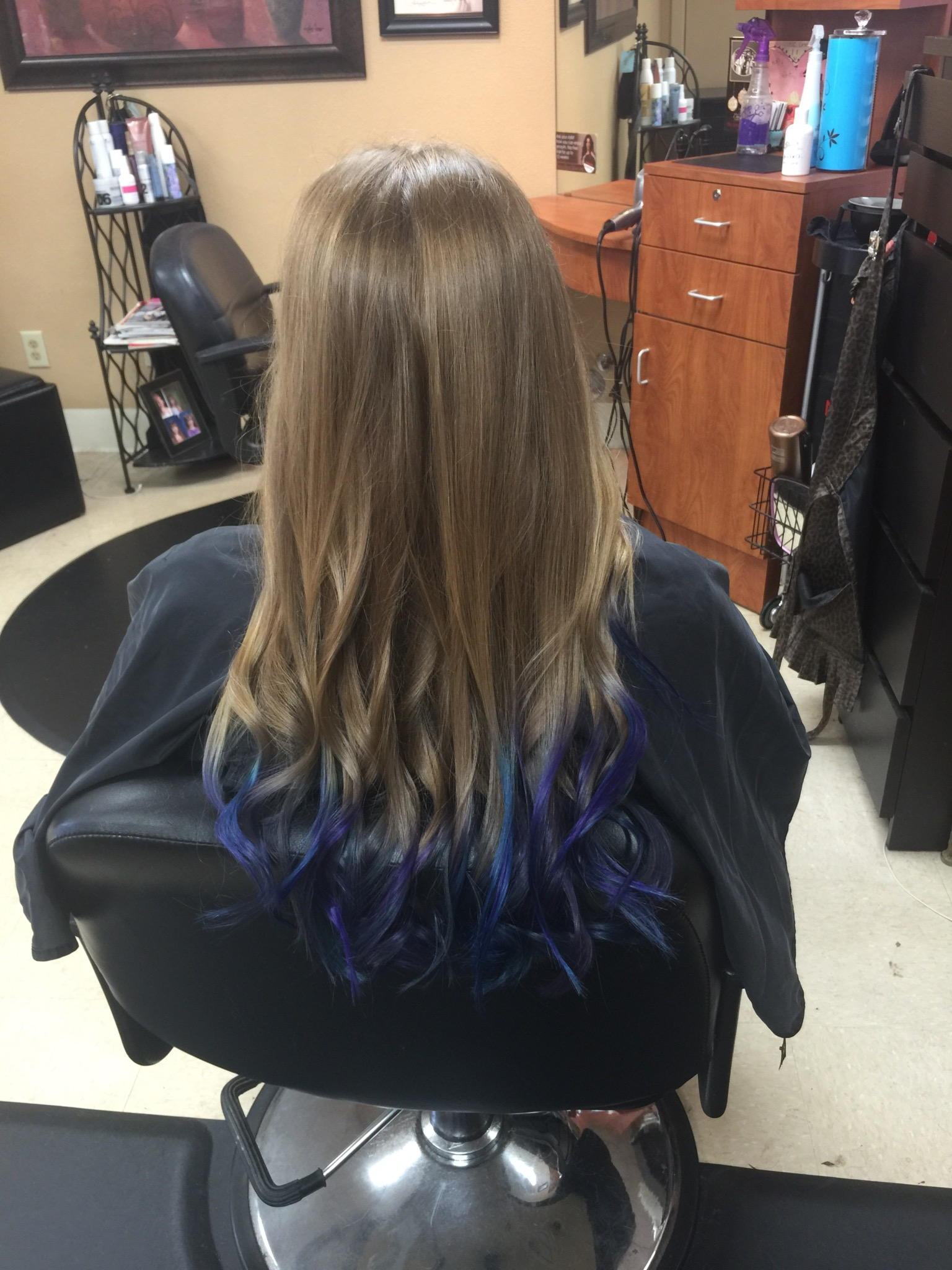 Dip dyed purple and blue