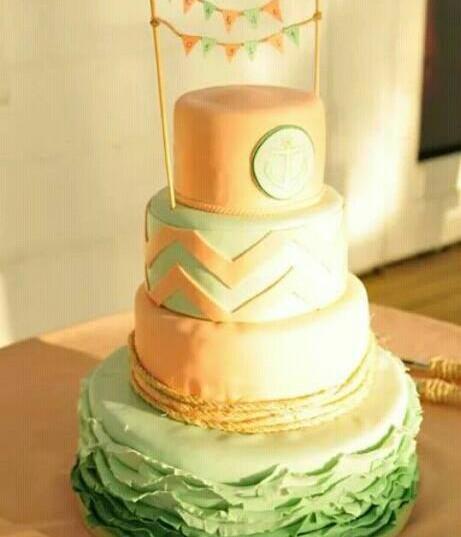 Chevron peach and mint wedding cake.jpg