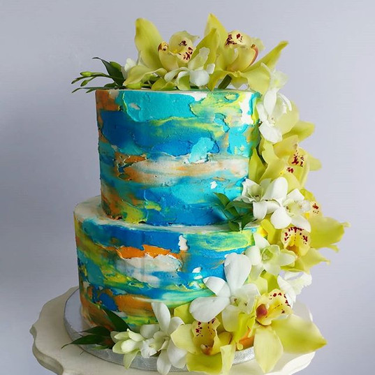 Water color buttercream cake Decorated w