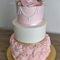 Pink Rossettes Wedding Cake.jpg