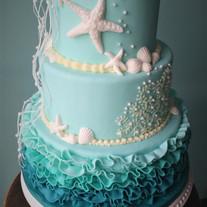 Jade Ruffles and Sealife Wedding cake.jp