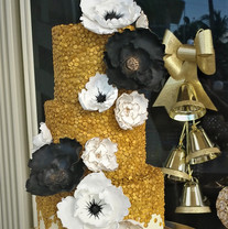 Gold Sequin and Sugar Flowers Wedding ca