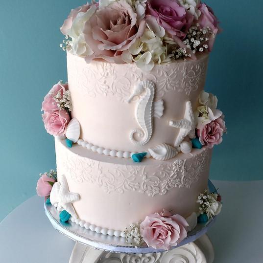 Seahorse Embossed wedding cake.jpg