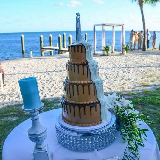 Half Choc half Buttercream Wedding cake.