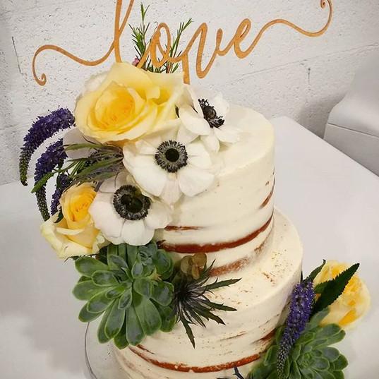 Semi-Naked Wedding cake embellished with
