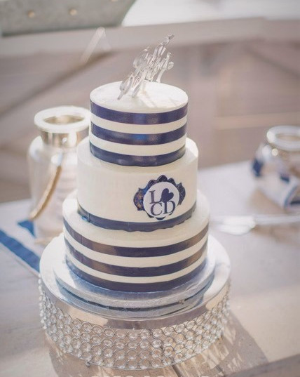 Stripe Navy white wedding Cake.jpeg