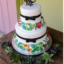 Handpainted Tropical Print Wedding cake.
