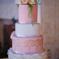 Gold Stencil and Ruffle Wedding cake.jpe