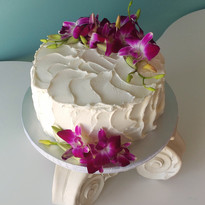 Textured icing with Orchids cake.jpg