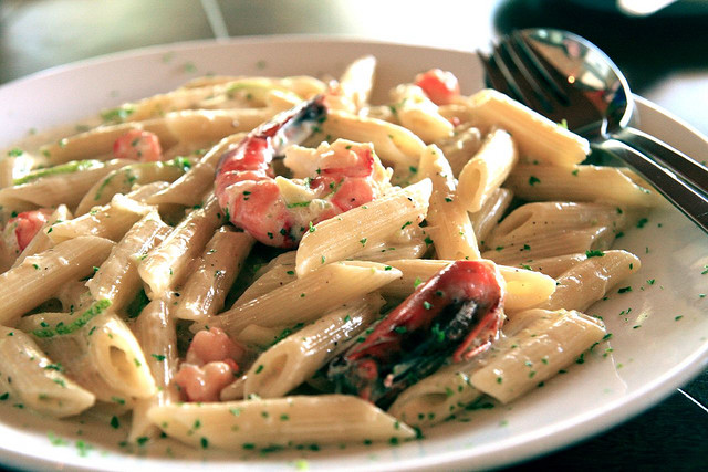 penne con shrimps high