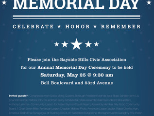 Annual Memorial Day Ceremony,Sat May 25@9:30am