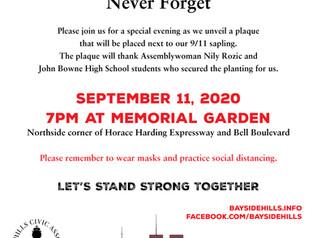 Bayside Hills Civic Association 9/11 Ceremony Sept 11, 2020