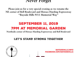 BHCA 9/11 Ceremony 7PM @ Memorial Garden