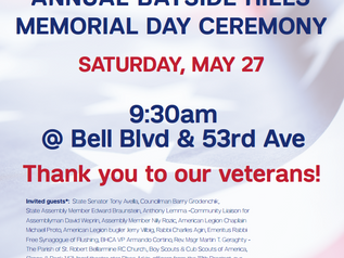 ANNUAL BAYSIDE HILLS MEMORIAL DAY CEREMONY on SATURDAY, MAY 27 9:30am